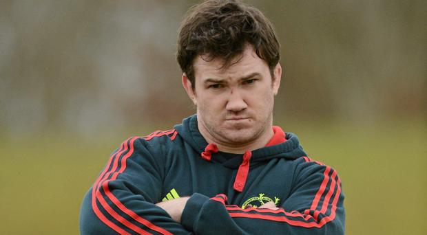 Munster Rugby Squad Training - Tuesday 12th February...12 February 2013; Munster's Damien Varley looks on at scrum practice during squad training ahead of their Celtic League game against Scarlets on Saturday. Munster Rugby Squad Training, University of Limerick, Limerick. Picture credit: Diarmuid Greene / SPORTSFILE...ABC