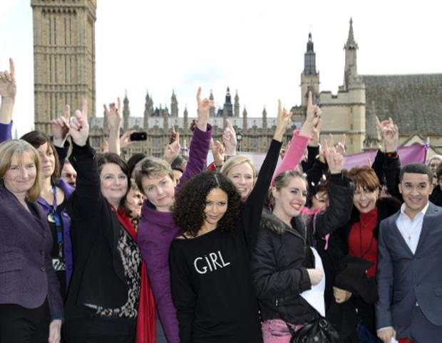 Thandie Newton, Ruby Wax, Kathy Lette and Jahmene Douglas support One Billion Rising. (Ben Pruchnie/Getty)