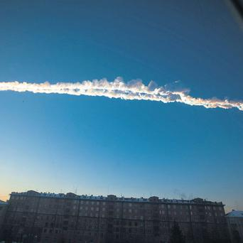 A meteorite contrail over Chelyabinsk