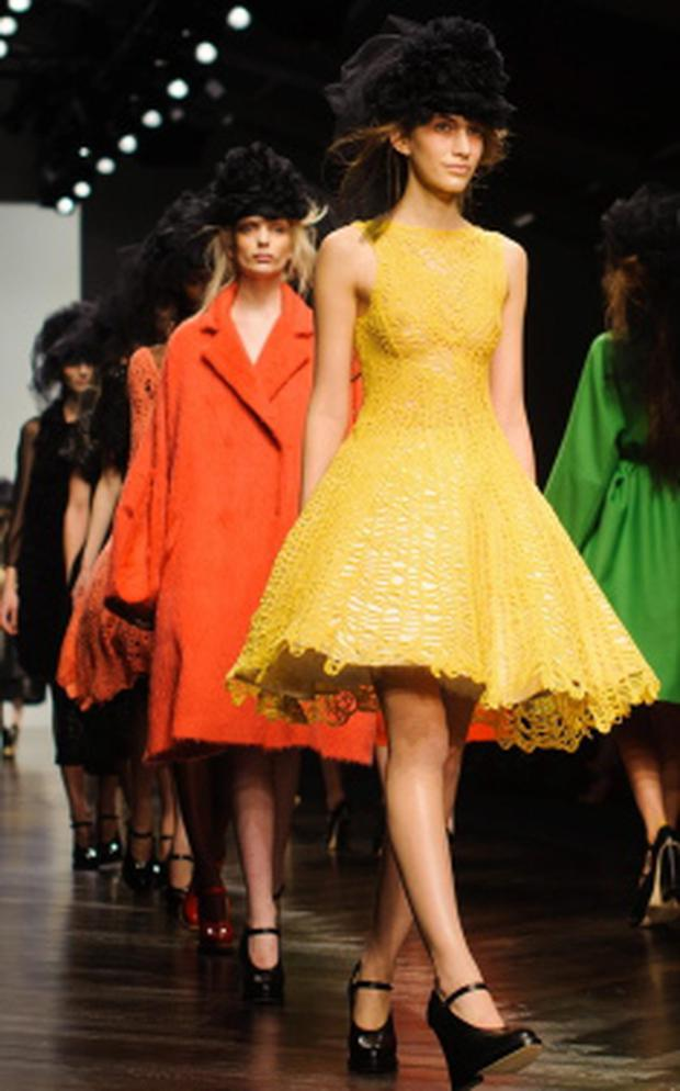 Models on the catwalk during the John Rocha catwalk show on day two of London Fashion Week