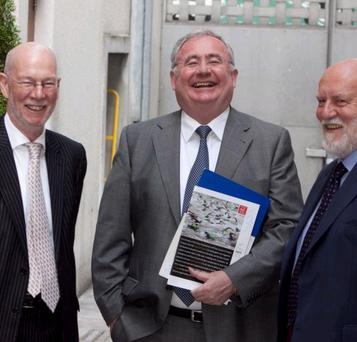Communications Minister Pat Rabbitte with Press Council of Ireland chairman Daithi O'Ceallaigh, left, and Press Ombudsman Professor John Horgan.