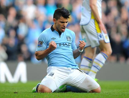 Manchester City's Sergio Aguero celebrates after scoring his side's fourth