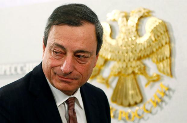 ECB President Mario Draghi at a news conference in Moscow on Friday