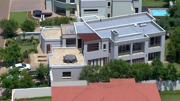 Aerial image showing the home of Olympic athlete Oscar Pistorius in a gated housing complex in Pretoria