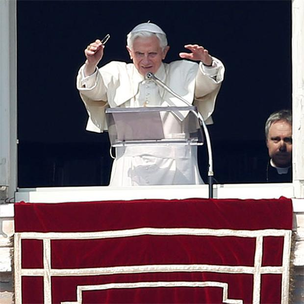 Pope Benedict XVI leads the Sunday Angelus prayer in Saint Peter's Square at the Vatican