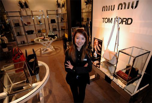Staff member Joyce Gao in Brown Thomas's Dublin store