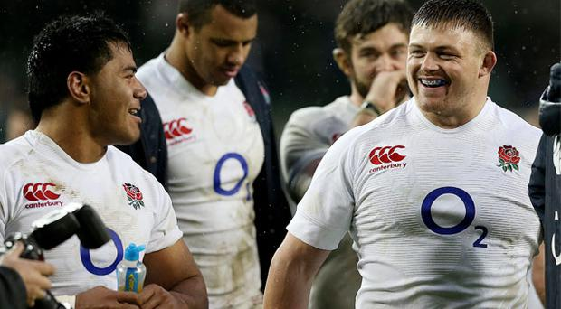 England celebrate at the final whistle of the RBS 6 Nations match against Ireland at the Aviva Stadium