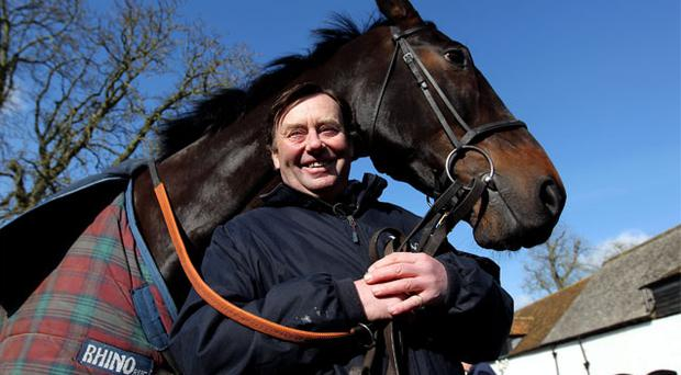 Nicky Henderson with Sprinter Sacre as yesterday's pre-Cheltenham stable tour