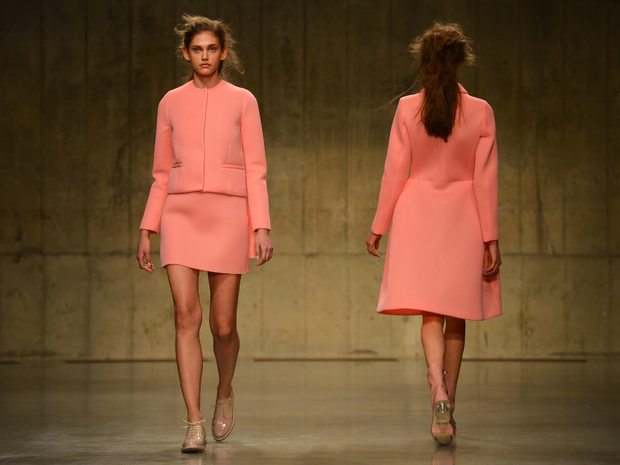 Among the pieces on offer were dresses and skirt suits in powder pink