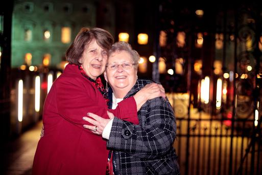 Survivor Kathleen Jeanette supported by her friend Joan Farrelly outside the Dail tonight