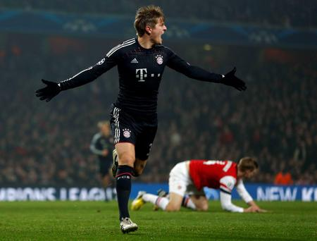 Bayern Munich's Toni Kroos celebrates after scoring
