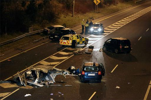 Gardai at the scene of the accident on the southbound carriageway of the M50 near Leopardstown