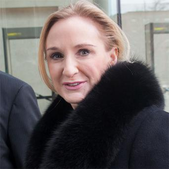 Gayle Killilea, wife of Sean Dunne, outside court in Stamford, Connecticut