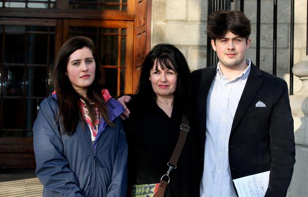 Ann Marie Glennon Cully with daughter Zara and son Zane at court yesterday