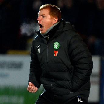 Celtic's manager Neil Lennon reacts to his side's performance against St Johnstone