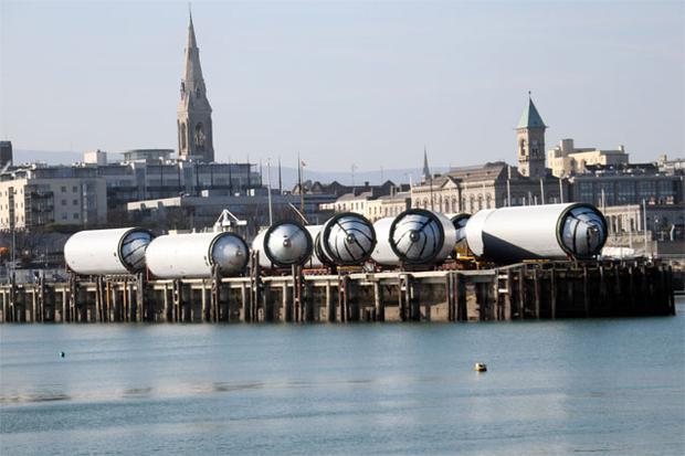The ten giant brewing vessels at Dun Laoghaire pier, part of the €153m expansion and redevelopment of the St. James Gate Brewery
