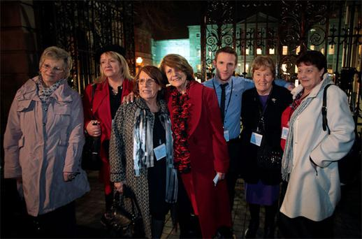 Justice for Magdalene campaigners Martina Gambold, Maureen O'Sullivan, Mary McGuinness, Kathleen Jeanette, Steven O'Riordan, Geraldine Cronin, and Julie McClure at the Dail