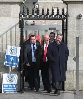 PJ Stone (right) leads members of the Garda Representative Association from talks with the Garda Commissioner