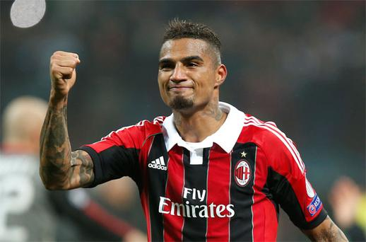 Kevin-Prince Boateng celebrates after scoring for AC Milan against Barcelona