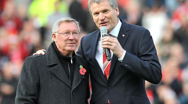 Alex Ferguson with David Gill, who is to retire as chief executive of Manchester United at the end of the season