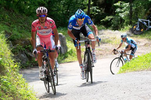 Canadian cyclist Ryder Hesjedal (C) and Spanish Joaquim Rodriguez during the 2012 Giro d'Italia