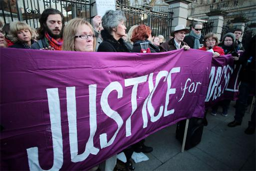 Campaigners for Justice for Magdalene survivors outside the Dail