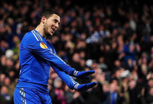 Chelsea's Eden Hazard celebrates scoring his side's winner