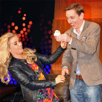 Ryan Tubridy with contestant Aimee Fitzpatrick, who celebrates her 18th birthday today