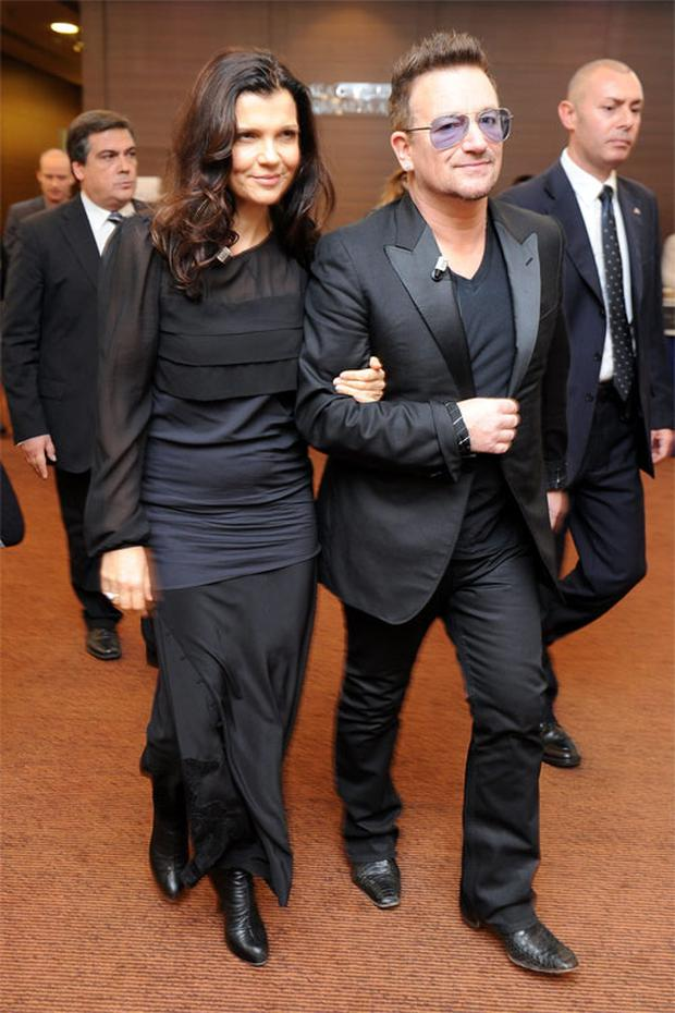 U2's lead singer Bono and his wife Ali Hewson, who has reportedly suffered broken ribs after a fall while on holiday