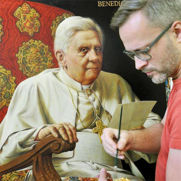 'Pope painter' Michael Triegel works on his second portrait of Pope Benedict XVI in Leipzig, Germany