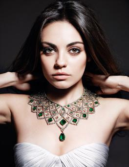 Mila Kunis is name as the global brand ambassador for Gemfields. Photo: Mario Sorrenti for Gemfields