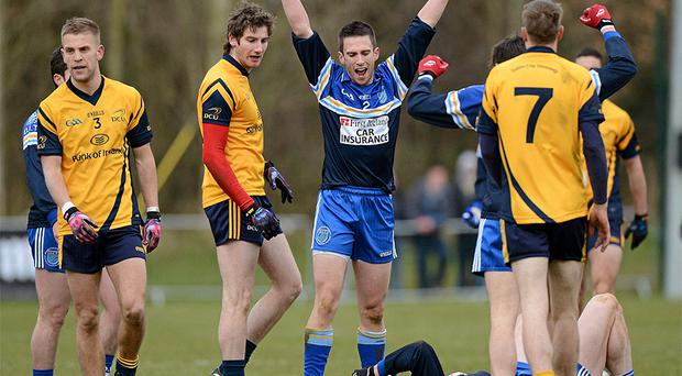 DIT's Gary O'Hare celebrates at the final whistle