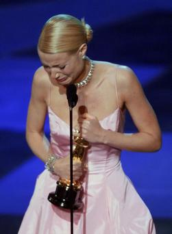 Gwyneth Paltrow cries as she accepts the Oscar for best actress in 1999