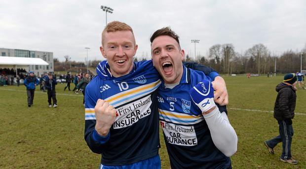 24 February 2013; Ciaran Reddin, left, and Alan Nestor, Dublin Institute of Technology, celebrate after the final whistle. Irish Daily Mail Sigerson Cup Final, Dublin Institute of Technology v University College Cork, Athlone Institute of Technology, Athlone, Co. Westmeath. Picture credit: Matt Browne / SPORTSFILE