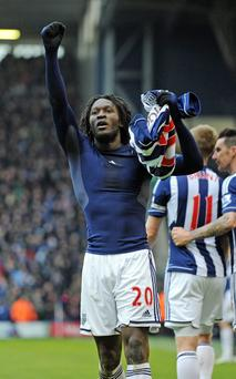 West Bromwich Albion's Romelu Lukaku celebrates after he scores his sides second goal