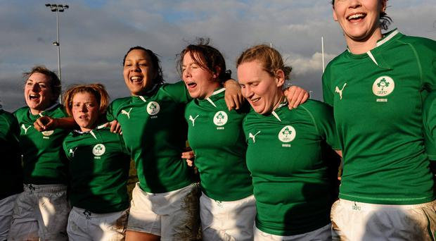 Ireland players celebrate their side's victory