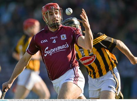 Fergal Moore, Galway, in action against Aidan Fogarty, Kilkenny. Allianz Hurling League, Division 1A, in Pearse Stadium, Galway.