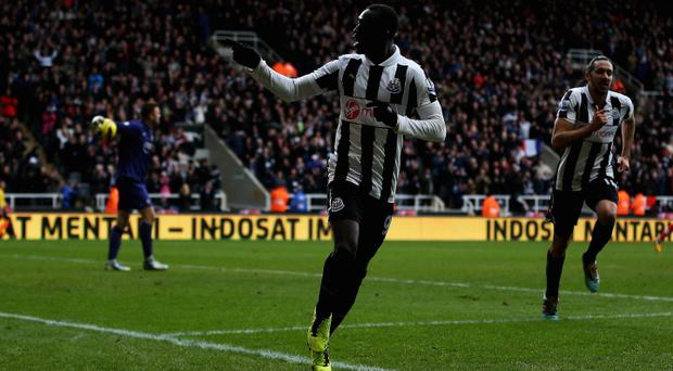 Papiss Cisse of Newcastle celebrates his goal