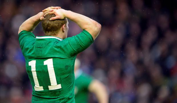 Ireland's Keith Earls reacts at the final whistle against Scotland