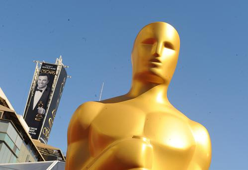 A general view of an Oscars statue on the red carpet ahead of the 85th Academy Awards in Los Angeles.