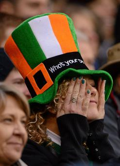 A supporter reacts during the game at Murrayfield