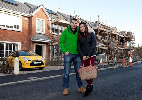 Aidan McCarthy and Jing Ye at the Peyton development in Rathcoole, Co Dublin, where they have put down a deposit for a house
