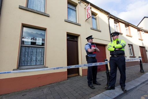 Gardai pictured outside the Stonehaven B+B on Centaur street in Carlow where two bodies were found. Picture Dylan Vaughan