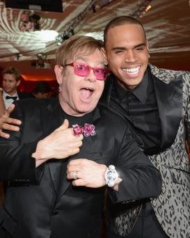 New BFFs Chris Brown and Sir Elton John
