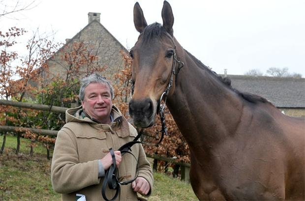 Nigel Twiston-Davies with Imperial Commander at Grange Hill Farm yesterday