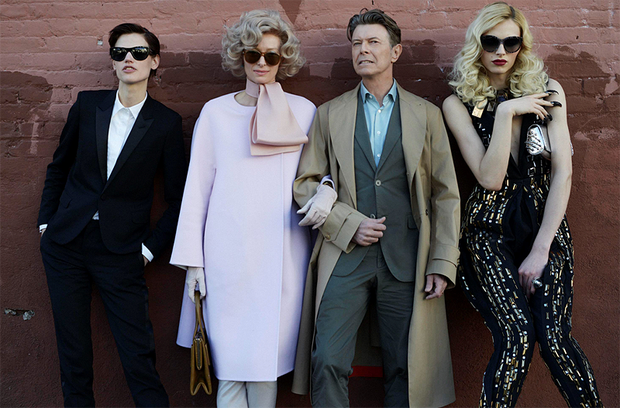 David Bowie (second right), Tilda Swinton (second left), Andrej Pejic (left) and Saskia De Brauw (right) starring in a short film entitled 'The Stars (Are Out Tonight)' which accompanies Bowie's new single
