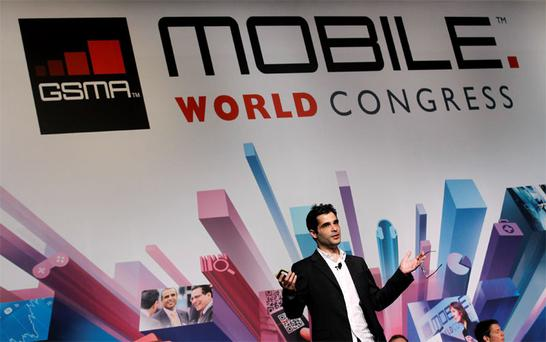 Viber's Founder and CEO Marco Talmon during a news conference at the Mobile World Congress in Barcelona