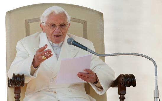 Pope Benedict XVI holds his last general audience in St Peter's Square at the Vatican