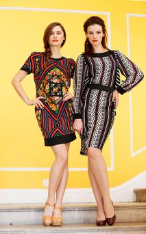 Carmel Mannion (left) wears a Limited Collection dress for €54. Karen Fitzpatrick (right) wears a Per Una print top, €47.50 and skirt, €47.50 from Marks & Spencer.