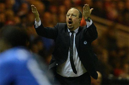 Rafael Benitez shows his frustration on the sidelines